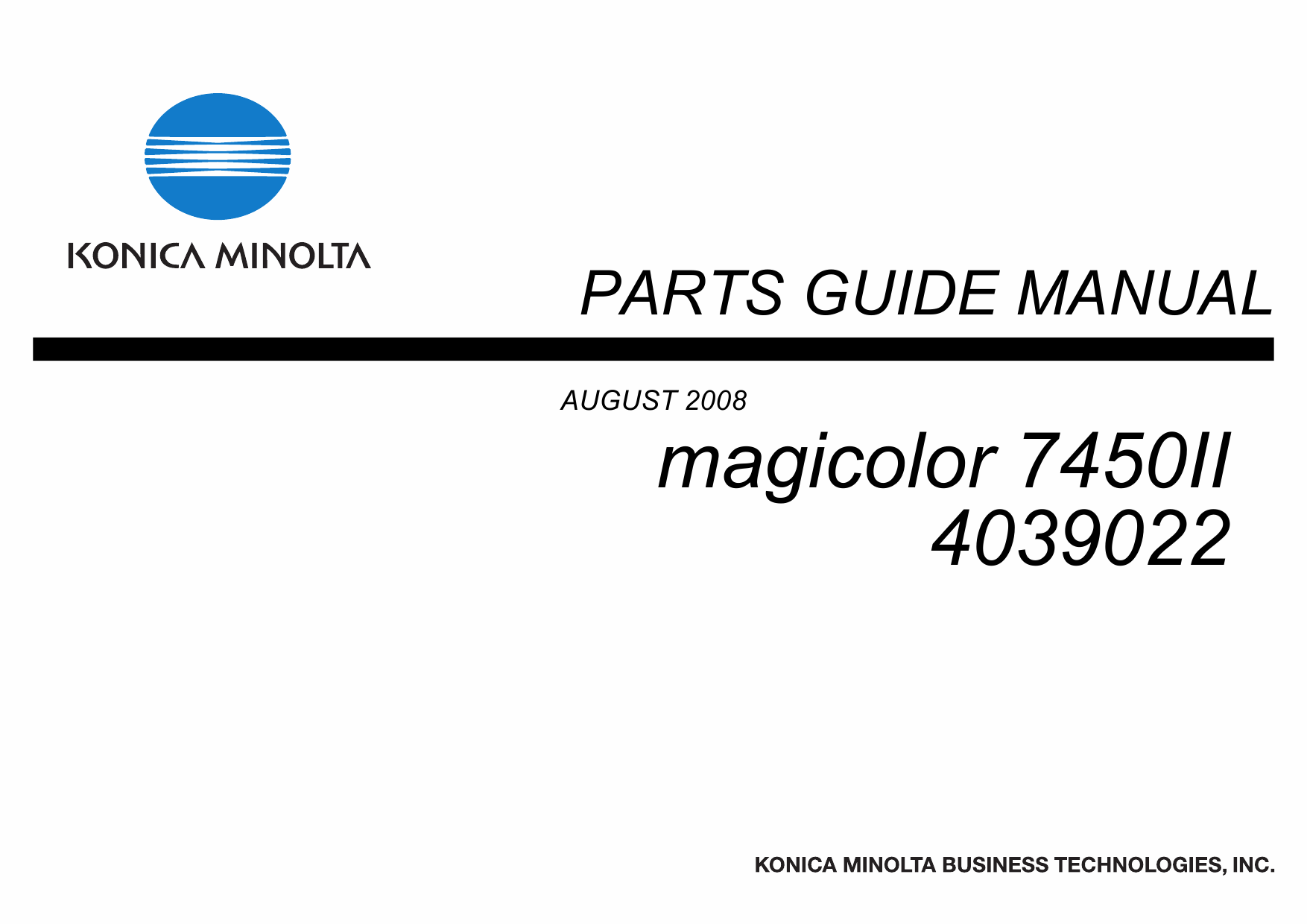 Konica-Minolta magicolor 7450II Parts Manual-1
